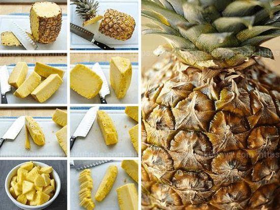 как почистить ананас в домашних условиях ножом