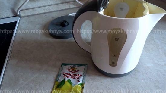как почистить накипь в чайнике лимонной кислотой